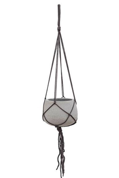 Grijze hangpot touw plant