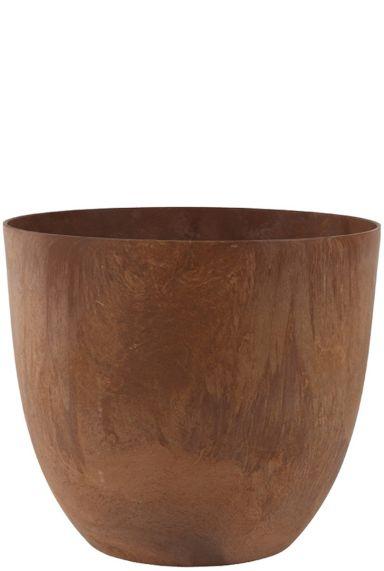 Grote bruine roest kleurige artstone pot