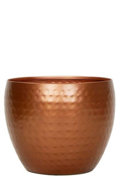 Koper kleurige pot