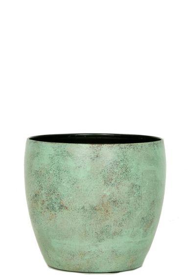 Metalen groen kopere pot