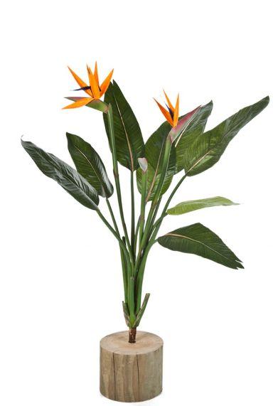 Strelitzia kunstplant met bloemen