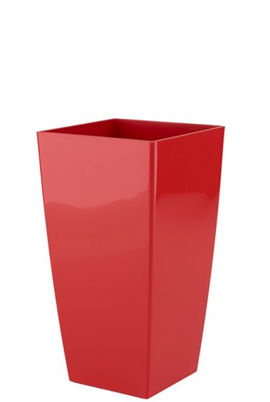 Vierkante rode plantenbak